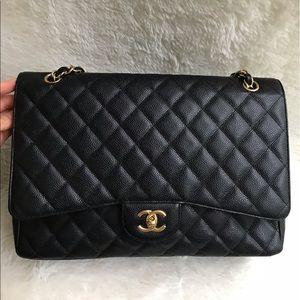Authentic Chanel Maxi Black Caviar GHW Single Flap